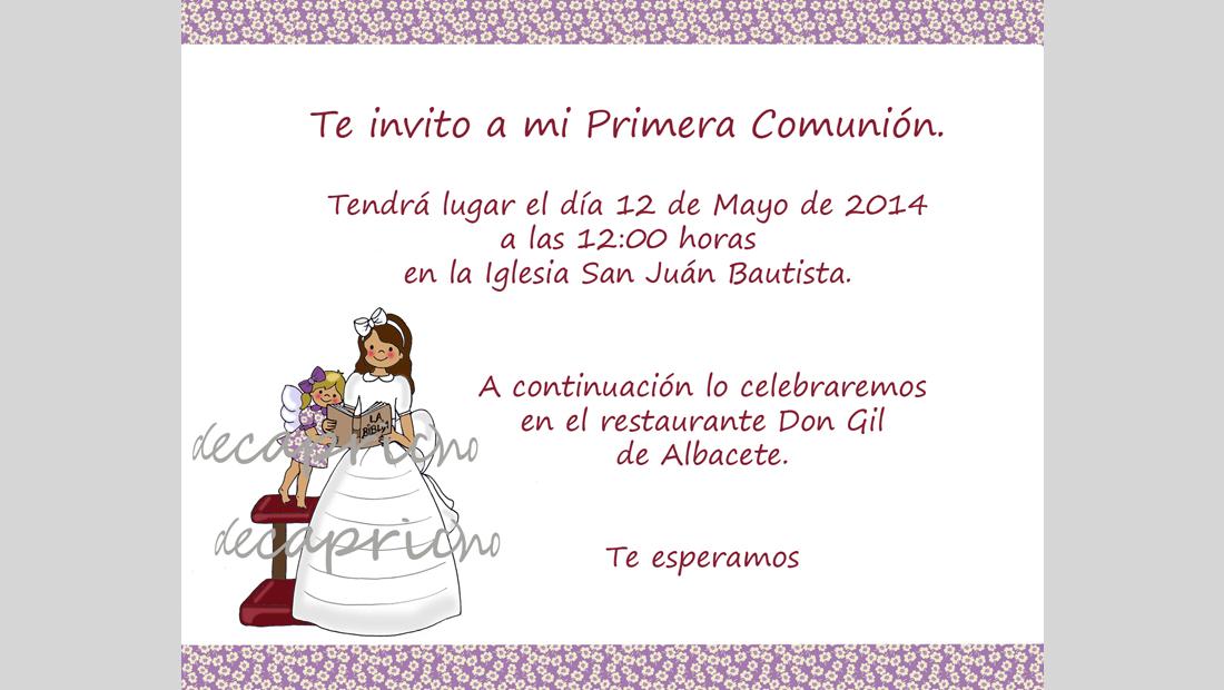Invitación Comunión niña 1