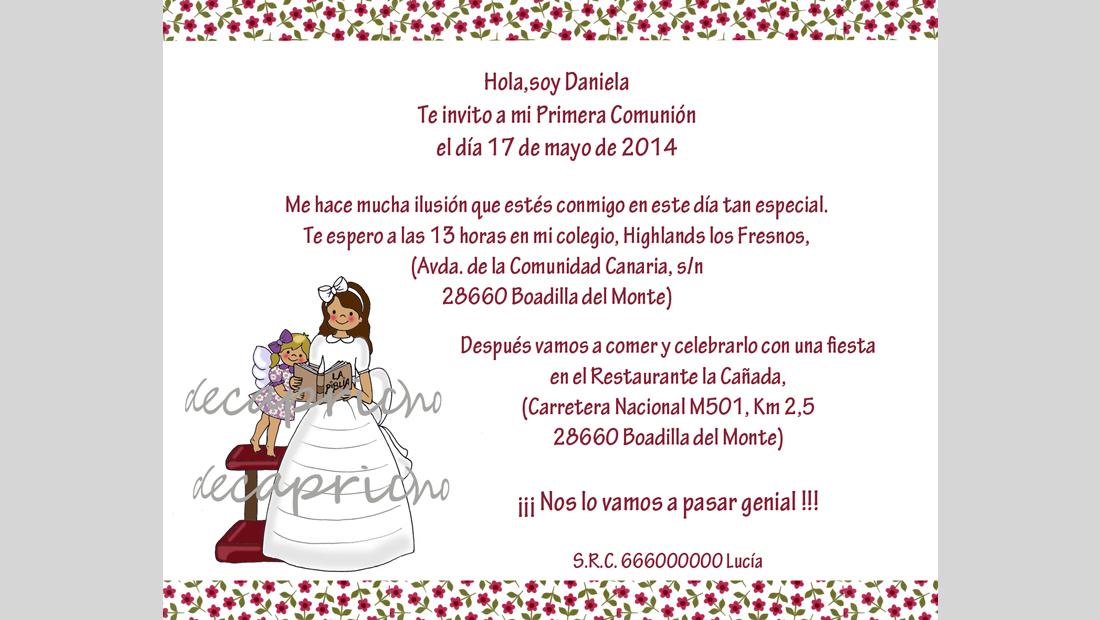 Invitación Comunión niña 3