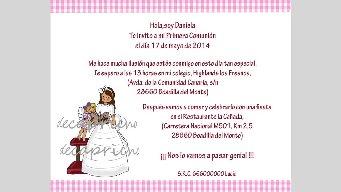 Invitación Comunión niña 4