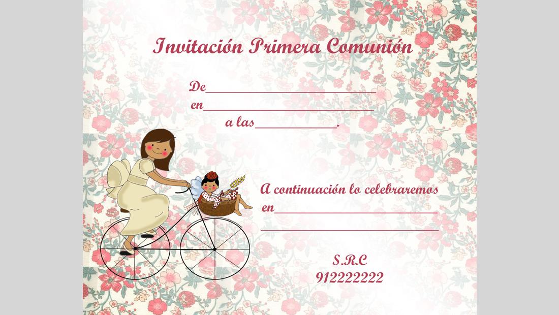 Invitación Comunión niña para rellenar degradado 2