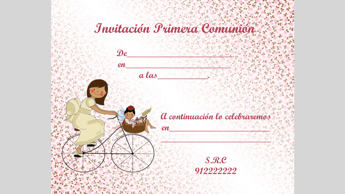 Invitación Comunión niña para rellenar degradado 4