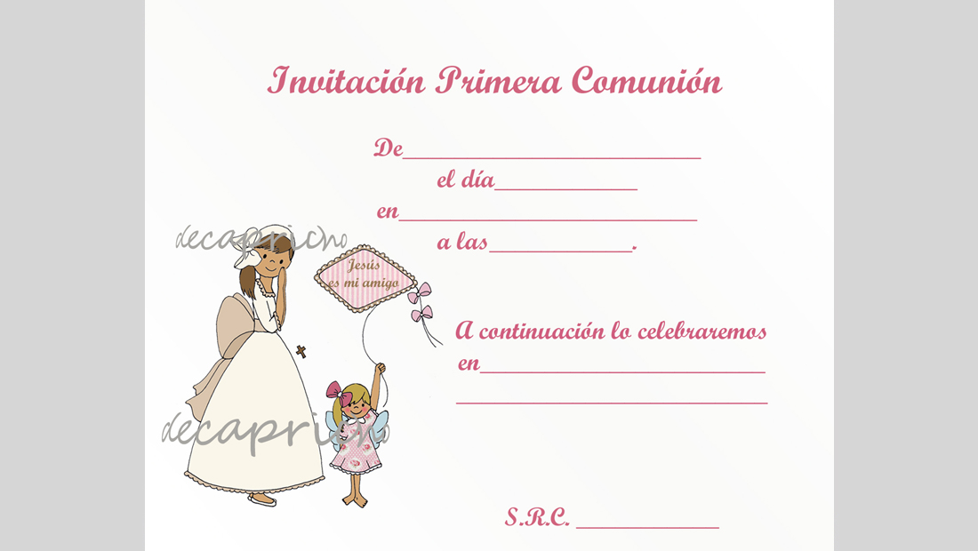 Invitación Comunión niña para rellenar