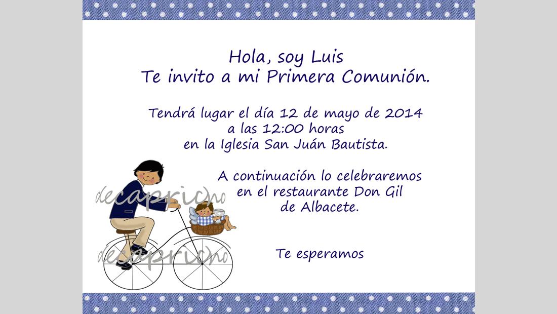 Invitación Comunión niño 1