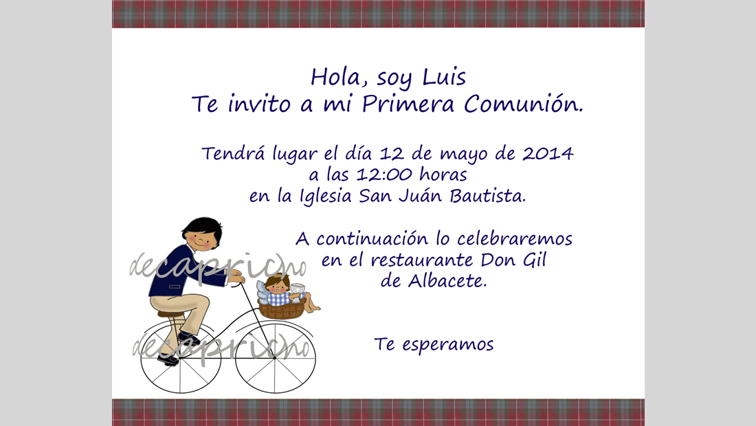 Invitación Comunión niño 3