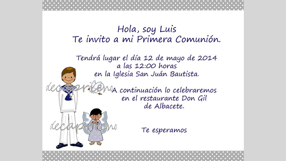 Invitación Comunión niño 4