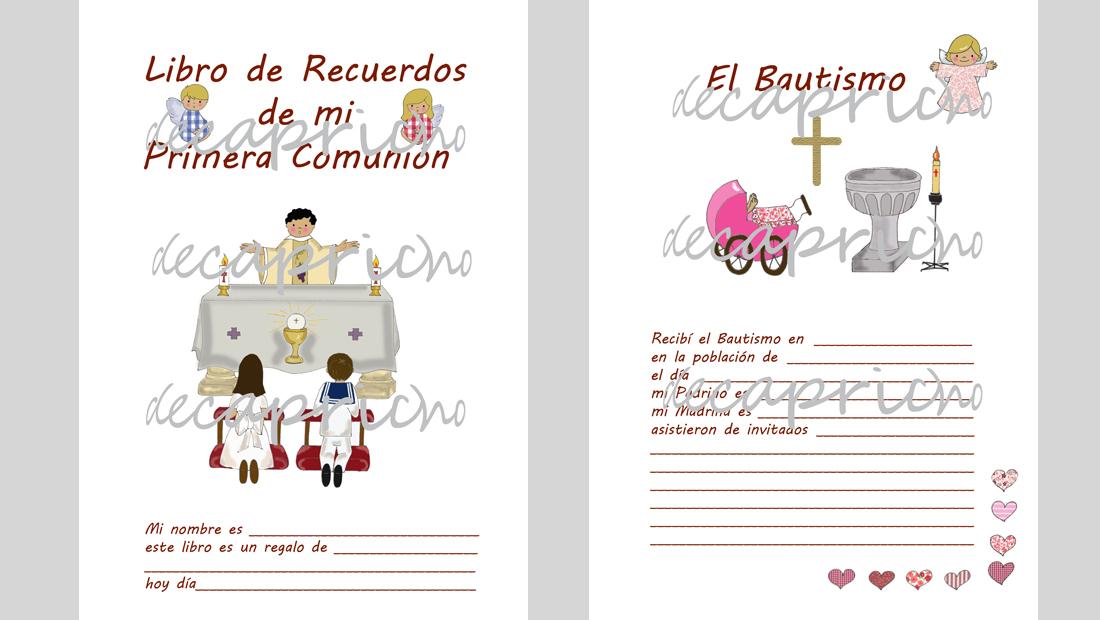 Recuerdos de capricho libro firmas interior ni a for Interior libro de firmas comunion